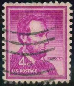 邮票,老邮票,林肯总统邮票,美国邮票1954年林肯总统像雕版邮票信销,非常罕见,稀有,珍贵,难得, !正品保真,非常稀有难得,意义深远,可谓古邮票收藏的珍品,孤品,神品