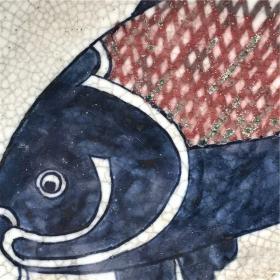 古玩,古董,古瓷器,开门美品,清代哥窑瓷,绝美瓷器彩绘大鱼开片大盘子,极美品,包真包老,具有极高的收藏价值,极其罕见,包浆醇厚,浆光四溢,沁色自然,纹路特别漂亮,神秘,神韵十足,为瓷器中之珍品,孤品,神品,可遇不可求,难得一见,国宝级