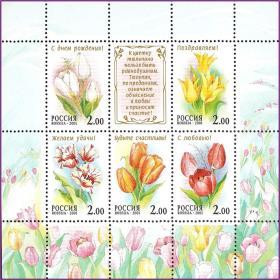 【俄罗斯邮票 2001年 植物 花卉 郁金香 小版 全新)邮票收藏集邮】