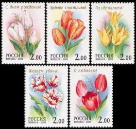 【俄罗斯邮票 2001年 植物 花卉 郁金香 全套5枚 全新)邮票收藏集邮】