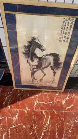 徐悲鸿《马》已装裱镜框 框子老松木的
