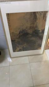 【急需资金,河北省副省长、王力旧藏,低价转让】傅抱石《国画》 已装裱镜框 框子老松木的