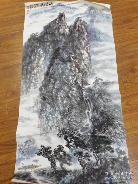 开平画家周永光作《山涧鹿鸣图》  四尺整张