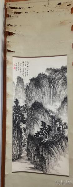著名画家吴可夫原装旧裱精品山水画立轴