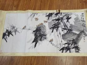 张**画家丙子年作《竹露清风蕉雨图》,水准很高