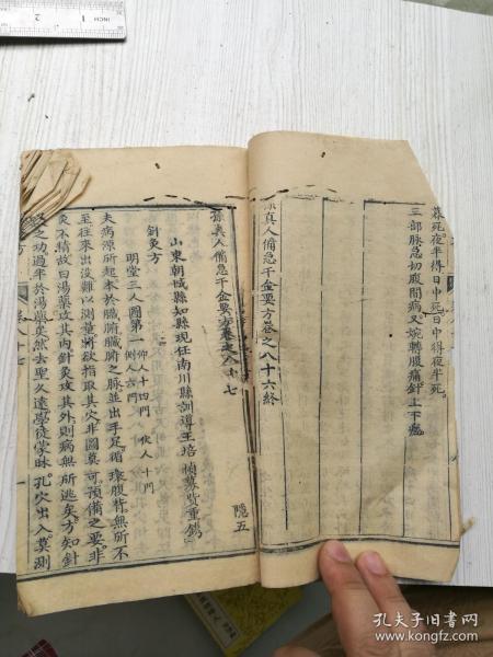 木刻,千金方卷八十五至卷九十,六卷合订。平脉方,针灸方。