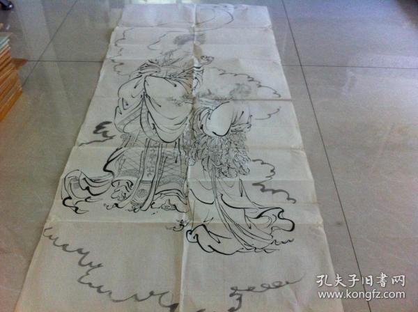 清朝老画》老艺术画,手绘画 浮世绘画,透明纸,山水画,人物画,大幅画,日本回购,126cmX54.5cm