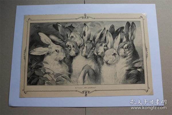 【百元包邮】《祝贺》(WIR GRATULIEREN)   1902 年木刻版画  卡纸尺寸约29.7×21厘米 (货号500808)