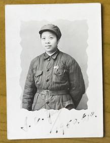 老照片:美女解放军——革命女青年——美女知识分子。1950年,英文签名,背面写满字 【陌上花开系列】