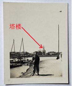 老照片:天津海河——马家渡口(此处后修建了广场桥),可见远处欧式塔楼建筑。背题1953年 。【桐阴委羽系列】