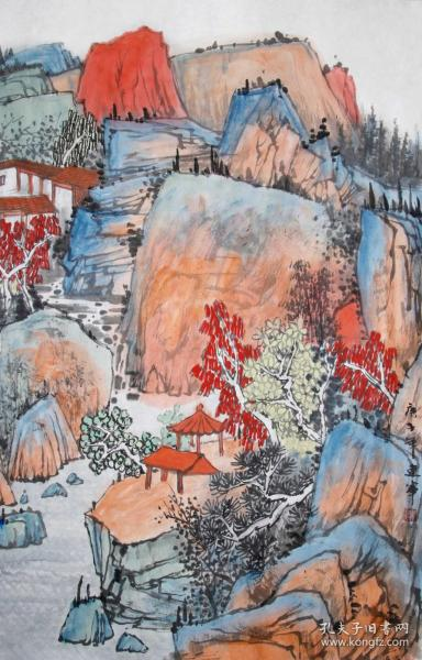 【无假货无仿品无印刷全部保真】夏建军,2018年在中国人民大学中国书画艺术高研班结业。现为中国山水画协会会员,湖北省美术家协会会员。4尺三开国画水墨山水画12《秋色斑斓》(43×68cm)。