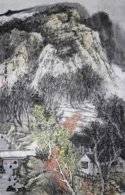 【无假货无仿品无印刷全部保真】夏建军,2018年在中国人民大学中国书画艺术高研班结业。现为中国山水画协会会员,湖北省美术家协会会员。4尺三开国画水墨山水画14《山居图》(43×68cm)。