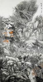 【无假货无仿品无印刷全部保真】夏建军,2018年在中国人民大学中国书画艺术高研班结业。现为中国山水画协会会员,湖北省美术家协会会员。4尺整张中堂国画水墨山水画24《故园清风》(68×138cm)。