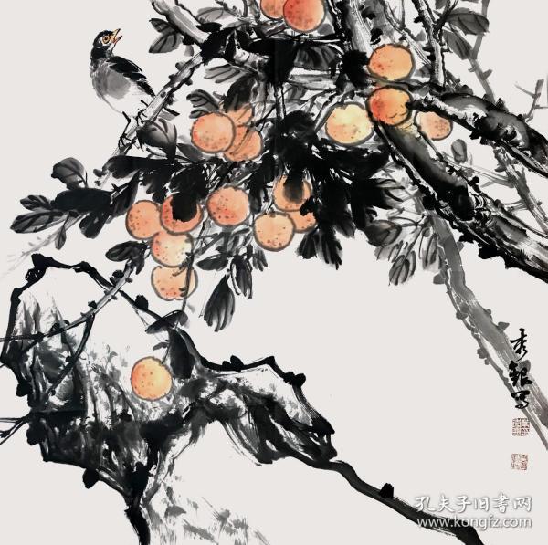 【没有仿品没有印刷品 全部保真】【秀*银】广东省清远市美术家协会常务理事,中国新水墨研究会会员,香港美术家协会会员,中国人民大学艺术学院画家。斗方国画作品3《硕果累累》(68×68CM)