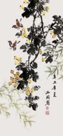 【终身保真真迹字画,取自画家本人】裴兴国/吉林省美术家协会会员。2014年他为当地博物馆创作3件工笔画作品,将在博物馆永久陈列。2017年刚刚为长白山博物馆创作7件作品,将在长白山博物馆永久陈列。三尺水墨大写意花鸟画10《枇杷竹子》(98cm×48cm)