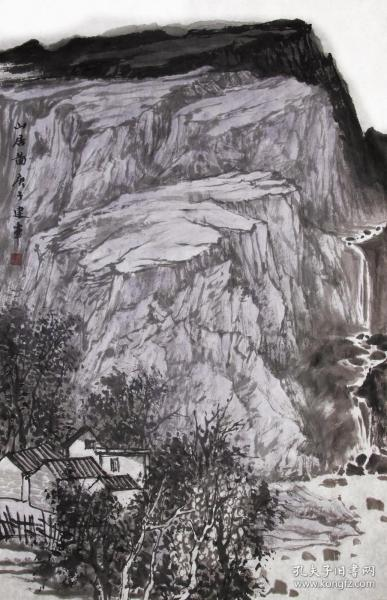 【无假货无仿品无印刷全部保真】夏建军,2018年在中国人民大学中国书画艺术高研班结业。现为中国山水画协会会员,湖北省美术家协会会员。4尺三开国画水墨山水画17《山居图》(43×68cm)。