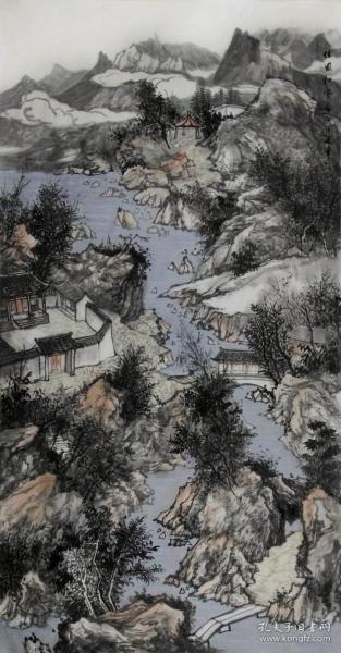 【无假货无仿品无印刷全部保真】夏建军,2018年在中国人民大学中国书画艺术高研班结业。现为中国山水画协会会员,湖北省美术家协会会员。4尺整张中堂国画水墨山水画8《佳园和气》(136×68cm)。
