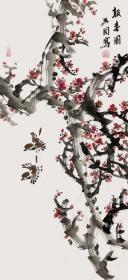 【终身保真真迹字画,取自画家本人】裴兴国/吉林省美术家协会会员。2014年他为当地博物馆创作3件工笔画作品,将在博物馆永久陈列。2017年刚刚为长白山博物馆创作7件作品,将在长白山博物馆永久陈列。三尺水墨大写意花鸟画红梅花9《报春图》(98cm×48cm)