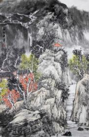 【无假货无仿品无印刷全部保真】夏建军,2018年在中国人民大学中国书画艺术高研班结业。现为中国山水画协会会员,湖北省美术家协会会员。4尺三开国画水墨山水画13《山水清音》(43×68cm)。