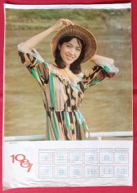旧藏挂历年历画单页 1987年电影演员龚雪 陈振戈摄影