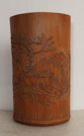 竹笔筒  竹制品  山水  人物   几十年的东东