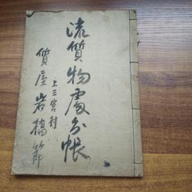 手钞本   老账本 《流质物处分帐》  抄写本   大正13年(1924年)  空白页40页左右