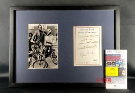 """""""美国第41任总统"""" 老布什 亲笔签名附言藏书票(已装裱带框) 由三大签名鉴定公司之JSA提供鉴定"""