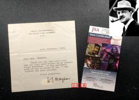 """""""英国著名作家,<月亮和六便士>作者"""" 毛姆 亲笔签名1965年91岁生日感谢信(人生最后一年) 三大签名鉴定公司之一JSA提供鉴定"""