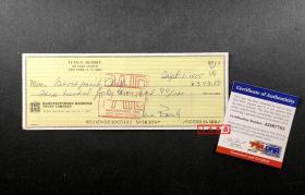 """""""华尔街传奇,股票套利之王"""" 伊凡·博斯基 1974年签名支票  由三大签名鉴定公司之一PSA/DNA提供鉴定"""