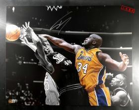 NBA篮球巨星'大鲨鱼' 奥尼尔 亲笔签名超大尺幅20寸签名照片 (约20×16英寸) 由三大签名鉴定公司之一Beckett(BAS)现场见证鉴定