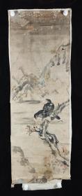 【日本回流】原装旧裱 佚名 水墨画作品《双鹰图》一幅(纸本托片,画心约5.5平尺)HXTX231722