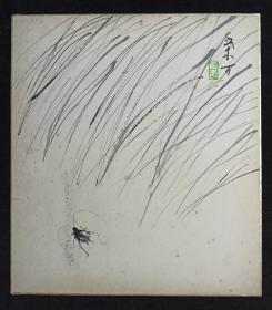 【日本回流】原装精美卡纸 荣方 水墨画作品《蛐蛐》一幅(纸本镜心,尺寸:27*24cm,钤印:荣方)HXTX234138