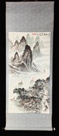【日本回流】原装旧裱 罗正义 癸酉年作 水墨画作品《夏山叠翠》一幅(纸本立轴,画心约4.1平尺,钤印:罗、正义)HXTX234169
