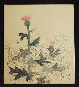 【日本回流】原装精美卡纸 佚名 水墨画作品《蓟草花》一幅(纸本镜心,尺寸:27*24cm)HXTX234136