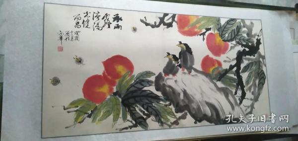寿桃 喜鹊报喜图      镜心      170*80cm