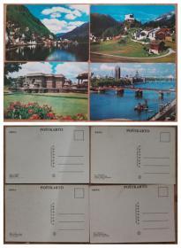 明信片4张-世界风光、奥地利.哈尔斯塔特、瑞士.塔拉斯普古堡、印度.古堡、英国.伦敦泰晤士河
