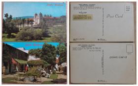 美国明信片2张-加州圣芭芭拉.加利福尼亚