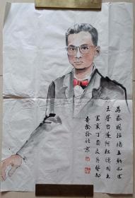 現代水墨畫研究會會長戴吾馨為泰國前國王普密蓬·阿杜德繪像