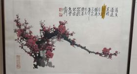 """中国美术家协会理事,著名画家王成喜""""清香溢远""""红梅国画"""