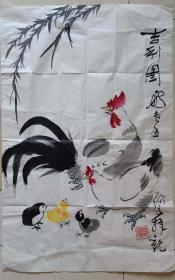 """李苦禅弟子,著名花鸟画家邓锡良""""吉利图""""水墨画"""
