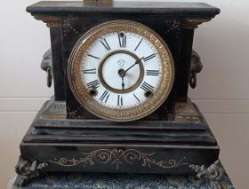 清末民國時期美國傳入瓷盤,鐵殼座鐘(堅固厚重)