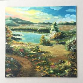 手绘油画郊外晚霞自然风景画山水画家居房间新居入伙走廊过道玄关挂画