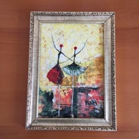双人跳巴黎舞蹈手绘油画家居房间新居入伙走廊过道玄关挂画送画框