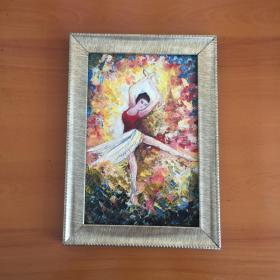 包邮巴蕾舞单人舞蹈手绘油画家居走廊过道玄关新居入伙挂画送画框