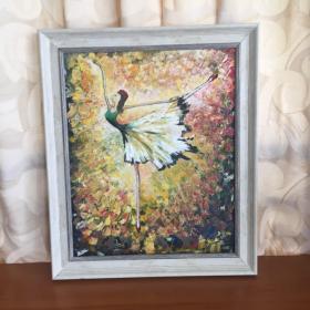 包邮巴蕾舞单人舞蹈手绘抽象油画家居走廊过道玄关新居入伙挂画送画框