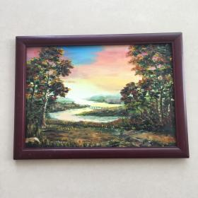 手绘油画远眺风景画山水画家居房间餐厅装饰装修新居入伙挂画送画框包邮