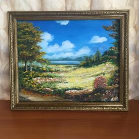 手绘油画郊外自然风景画山水画家居房间新居入伙走廊过道玄关挂画包邮