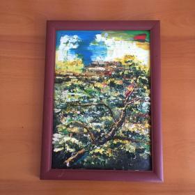 手绘油画抽象画松树梦中小路家居房间餐厅装饰装修新居入伙挂画送画框包邮