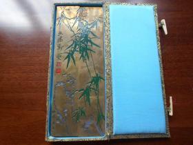 1988年【北京艺海铜镇纸一对,郑板桥画竹】全军书法比赛纪念