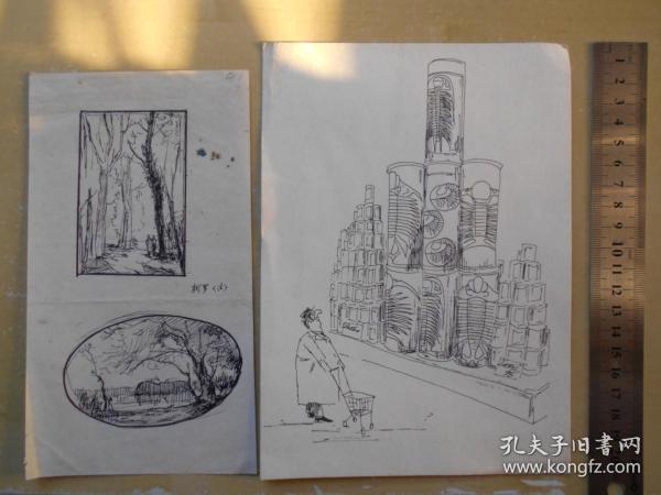 90年代【出版社插图,钢笔画稿3幅】